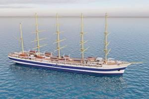 """Modell des neues Fünfmast-Vollschiffs der Reederei """"Star Clippers"""""""