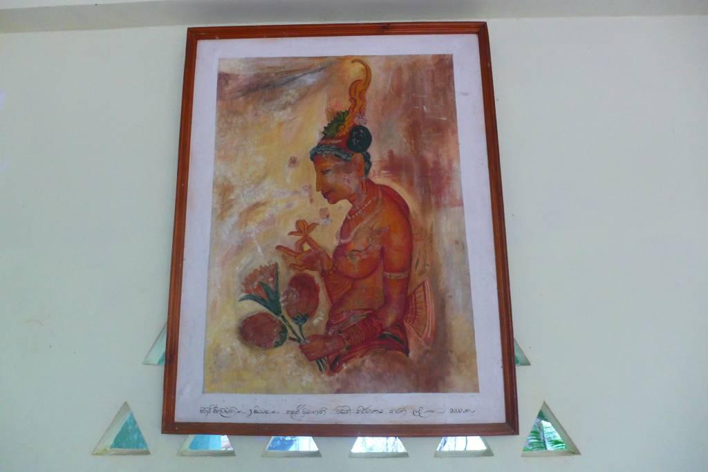 Reproduktion eines Wolkenmädchens, das im Museum hängt. Die Originalzeichnungen auf dem Sigirya Felsen sind 1500 Jahre alt und dürfen nicht fotografiert werden Foto: © M.Persian