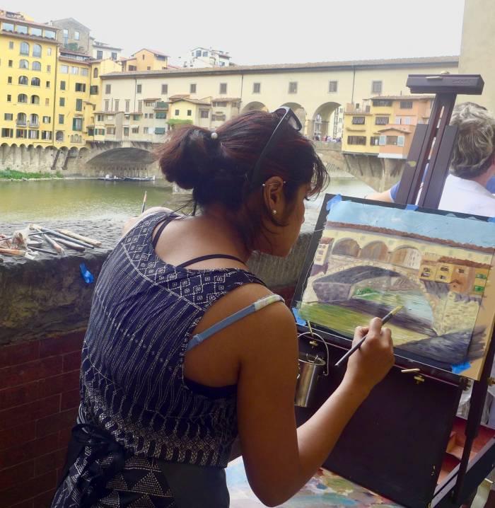 Die Ponte Vecchio in Florenz ist auch ein beliebtes Motiv für Maler